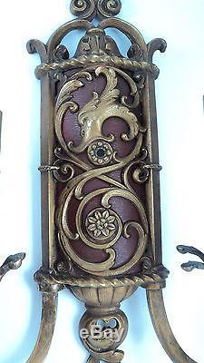Spectacular set 4 designer antique double light sconces gargole head wall hugger