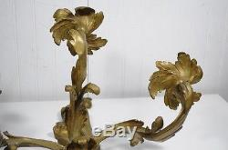 Stately Antique 19th C French Bronze Acanthus Rococo Candle Holder Wall Sconce