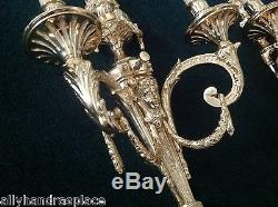 Stately French Neoclassical Figural Bronze Wall Sconce Pair 2 Arm Lamp Sconces