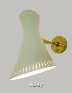 Stilnovo WALL SCONCE Adjustable Enameled Shade Brass Arm 1950s creme golden