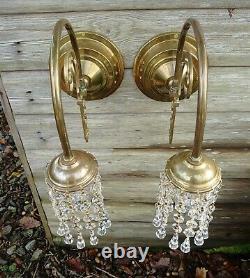 Stunning Pair Bohemian Vintage Wall Lights Strings of Crystals Downlighters