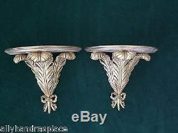 Stunning Vintage French Carved Giltwood Frond Pair Wall Sconces Shelf Corbel
