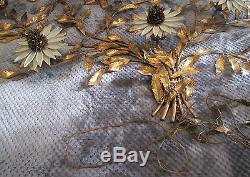 Sunflower Wall Light Hollywood Chic Gilt Brass White Enamel Flowers Lamp Sconce
