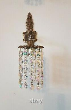 Superb Pair of French Style Vintage Down Light Wall Lights Iridescent Crystals