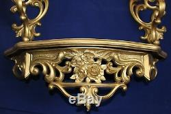 Syroco Dart Ind Homco Set of 4 Mirror Candle Sconces Shelf Gold Victorian Wall