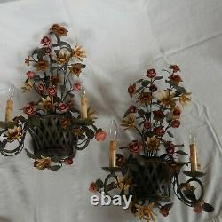 TWO Currey & Co Metal Wall Sconces Rose and Vine in Basket set of two