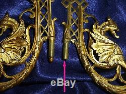 Two Pairs French Antique Gilded Bronze/ Brass Wall/ Piano Sconces With Griffin