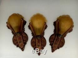 Three 30s Art Deco Signed Riddle Slip Shades Amber Antique Wall Sconce Fixtures