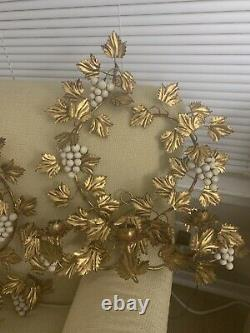 Two Antique Italian Tole Gilt Gold Leaf Grapes Wall Sconce Candelabra