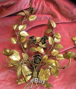Two Vin Italian Italy Gold Gilt Tole Metal Candleholder Wall Sconce Roses Leaves