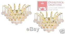 USA BRAND Pair Set 2 Empire 3 Light Gold & Crystal Ball Wall Sconce Light 16