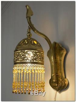 Unique Handcrafted Moroccan Brass Wall Fixture Lamp Sconce Light
