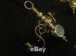 Unique Pair Antique Dutch Brass Bronze Wall Sconces Candle Holders Sticks (1019)