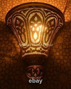 Unique Set of 2 Handcrafted Moroccan Brass Wall Lamp Sconce Light ML25