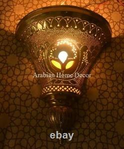 Unique Set of 2 Handcrafted Moroccan Gold Brass Wall Lamp Sconce Light ML21