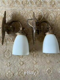 Urban Archaeology Victorian Pullman Wall Sconce Set of Two (2) Antique Brass