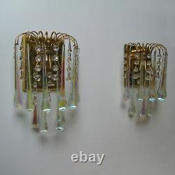 VINTAGE 60's PAIR GILDED WALL SCONCE LIGHT IRIDESCENT GLASS DROPS SHABBY CHIC #1