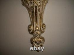 VINTAGE HEAVY BRONZE WALL SCONCE With CHERUB HOLDING TWO CANDLEHOLDERS-GOLD GI