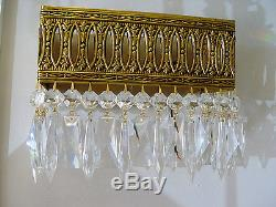 VINTAGE Large 10 x 8 BRASS Crystal Wall SCONCE from SPAIN