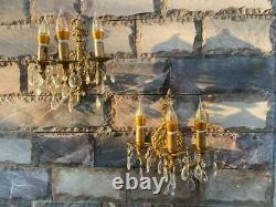 VINTAGE ORNATE Classic Gold BRASS WALL Wired Pair of SCONCES applique 3 Arms