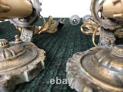 VINTAGE PAIR LAPCO 1848 Cast Iron ELECTRIC Candle WALL SCONCES Art Deco Works