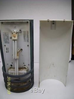 VINTAGE PAIR of 20 OUTDOOR WALL SCONCE HALF CYLINDER LIGHT BRASS & PLASTIC