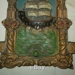 VTG Arts & Craft 2-Light Wall Sconce Spanish Galleon Ship Lowry Elec. Co. 1930's