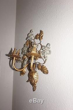 VTG Cut Glass Crystal Prism Candelabra Wall Sconce Candle Holder Gold Gilt