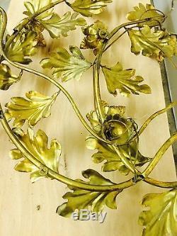 VTG HOLLYWOOD REGENCY MID-CENTURY 6 LIGHT ITALIAN GOLD GILT Gere WALL SCUPLTURE