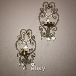 VTG Murano Glass Candle Wall Sconces Pr Venetian Chandelier Style Prisms Beaded