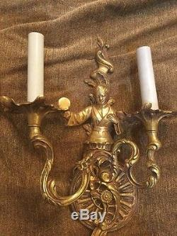 VTG Pair Gilt Brass Metropolitan Asian French Gold Sconce Rococo Wall Sconces