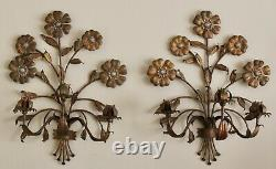 VTG Pair Italian Gold Gilt Tole Metal 3 Arm Floral Candle Wall Sconces 20.5