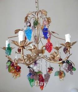 Venetian Fruit Murano Chandelier And Two Sconces Wall Lamps Gold Leaf Metal