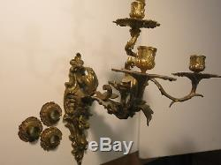 Victorian Bronze Wall Sconce Candelabras /Three Arm Rococo Pair