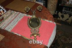 Victorian Style Brass Metal Wall Mounted Sconce Candlestick Holders WithMirror