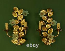Vintage 1970s Hans Kogl Gold Gilt Florentine Metal Wall Sconces with Glass Flowers