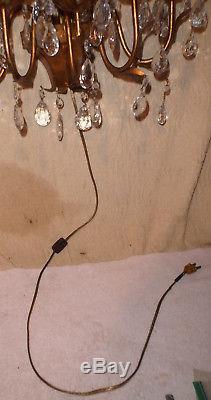 Vintage 5 Arm Italian Gold Gilt Candelabra Sconce Wall Light w Prisms Iron