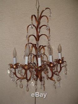 Vintage 5 Light Italian Gold Gilt Candelabra Sconce Wall Light w Prisms