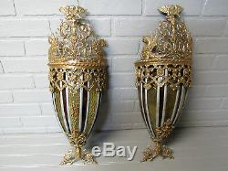 Vintage Antique Huge Art Deco Yellow Bronze Wall Sconce Pair Restored 21.5 Tall