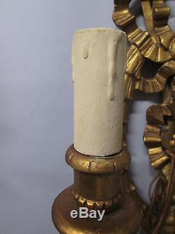 Vintage Antique Huge Pair Italian Gold Gilt Wall Sconces Handcarved Wood 38 T