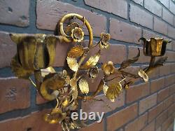 Vintage Antique Italian Gold Gilt Tole Wall Sconce Candle Holder Flowers Leaves