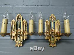 Vintage Antique Pair Art Deco Wall Sconces Orig Paint Rewired 10 7/8 T