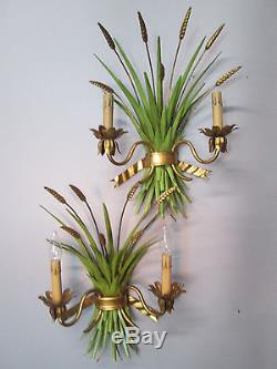 Vintage Antique Pair Gold Gilt Italian Tole Wheat Wall Sconces 20 by 14 Lights