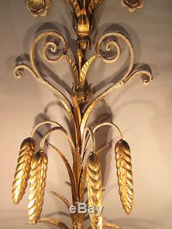 Vintage Antique Pair Italian Tole Wheat Gold Gilt Wall Sconce Lights 22 x 9