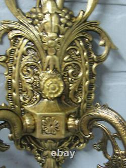 Vintage Antique Spanish Brass Wall Sconce Crystal Prisms Two Arm Sconce 12 1/2