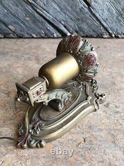 Vintage Art Deco Cast Aluminum Wall Sconce Pair Wall Light Fixtures With Color