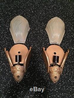 Vintage Art Deco Slip Shade Wall Sconce Pair by Virden