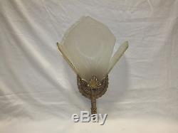 Vintage Art Deco Wall Sconce Slip Shade Glass Light Fixture 2pcs