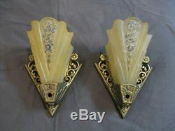 Vintage Art Deco pair of Lightolier slip shade wall sconces