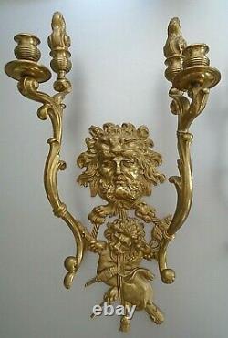 Vintage Bronze Figural Hercules & Dionysus God of Grape Harvest Wall Sconces